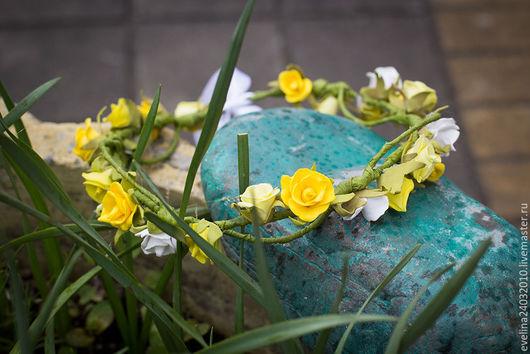 Диадемы, обручи ручной работы. Ярмарка Мастеров - ручная работа. Купить Венок из цветов из фоамирана. Handmade. Комбинированный, венок для фотосессии