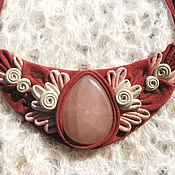 """Колье ручной работы. Ярмарка Мастеров - ручная работа Ожерелок из кожи """"Русские узоры"""" с розовым кварцем. Handmade."""