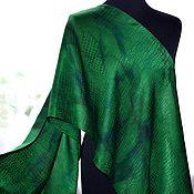 Аксессуары handmade. Livemaster - original item Female Scarf dark green jacquard reptile crocodile. Handmade.