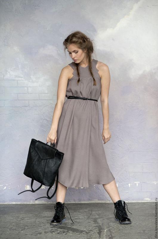 Платья ручной работы. Ярмарка Мастеров - ручная работа. Купить Платье-сарафан дымчато-сиреневое. Handmade. Однотонный, ВЕЧЕРИНКА, серый