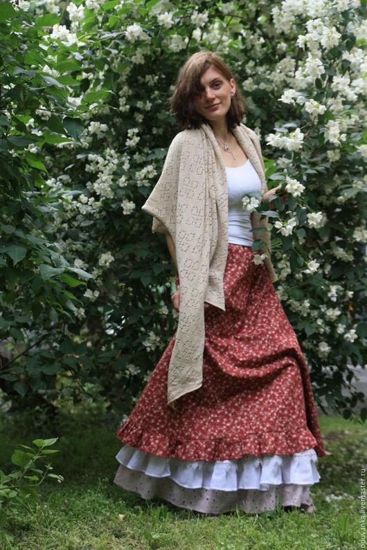 Юбки ручной работы. Ярмарка Мастеров - ручная работа. Купить Хлопковая юбка с розами. Handmade. Бордовый, юбка с узорами, цветочки