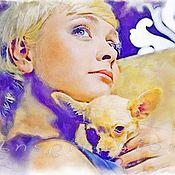 Картины и панно ручной работы. Ярмарка Мастеров - ручная работа Портрет по фото (Дама с собачкой). Handmade.