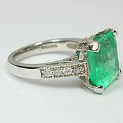 Rings handmade. Livemaster - original item 7.68tcw Solitaire Colombian Emerald & Diamond Engagement Ring 14K. Handmade.