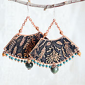 Earrings manualidades. Livemaster - hecho a mano Big copper earrings Boho earrings with jade Black green Twigs. Handmade.