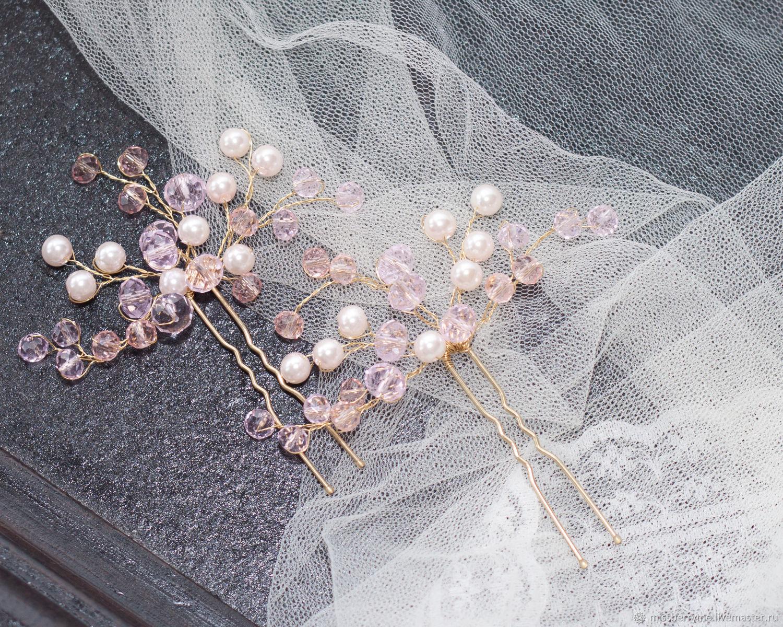 Свадебные украшения ручной работы. Ярмарка Мастеров - ручная работа. Купить  Золотые свадебные шпильки. ead4591df49
