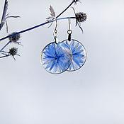 Украшения handmade. Livemaster - original item Transparent resin earrings with real flowers
