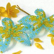 """Украшения ручной работы. Ярмарка Мастеров - ручная работа Заколка-невидимка из бисера """"Голубые цветы"""". Handmade."""