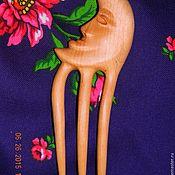 """Заколки ручной работы. Ярмарка Мастеров - ручная работа Деревянная заколка """"Месяц"""". Handmade."""