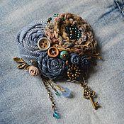 Украшения ручной работы. Ярмарка Мастеров - ручная работа Брошь джинсовая Ключ от сердца. Handmade.