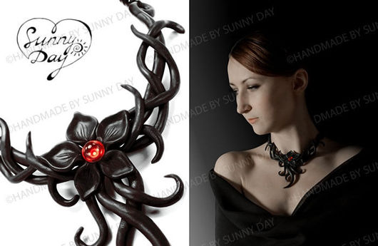 Necklaces & Beads handmade. Livemaster - handmade. Buy Necklace 'the Flame of the night'.Gothic, red, passion