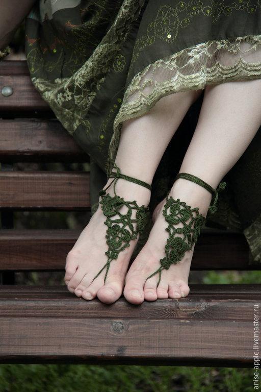 """Обувь ручной работы. Ярмарка Мастеров - ручная работа. Купить """"Summer trefoil"""", босые сандалии. Handmade. Зеленый, ирландия"""