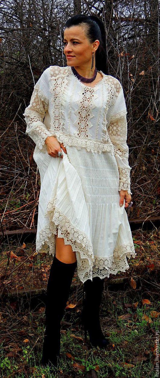 Платья ручной работы. Ярмарка Мастеров - ручная работа. Купить БОХО платье  цвета экрю (№2). Handmade. Белый