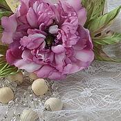 Украшения handmade. Livemaster - original item Brooch made of textile peony silk Lilac dreams. Handmade.
