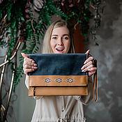 Clutches handmade. Livemaster - original item Clutch Folder for A4 documents with hand embroidery-Poikki.. Handmade.