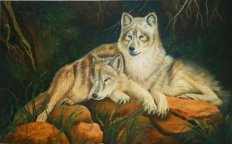 Картина в подарок с волками