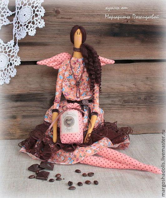 Куклы Тильды ручной работы. Ярмарка Мастеров - ручная работа. Купить Фея кофе и шоколада Мишель.. Handmade. Персиковый