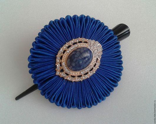 """Заколки ручной работы. Ярмарка Мастеров - ручная работа. Купить Заколка """"Blue Queen"""". Handmade. Тёмно-синий, кабошон из ларимара"""