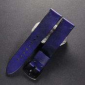 Украшения handmade. Livemaster - original item Watchband leather 18/20/22/24 mm calf leather blue. Handmade.