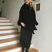 Одежда ручной работы. Ярмарка Мастеров - ручная работа Теплый шерстяной свитер KNITTED BLACK. Handmade.