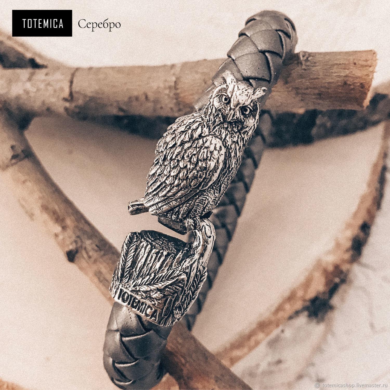 Silver Owl Bracelet / Eco-leather, Braided bracelet, Moscow,  Фото №1