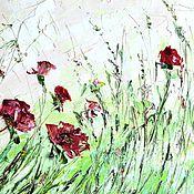 Картины и панно ручной работы. Ярмарка Мастеров - ручная работа Картина маслом с цветами красные маки зеленая трава пруд гостиную холл. Handmade.