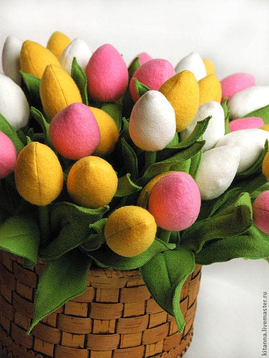 Цветы ручной работы. Ярмарка Мастеров - ручная работа. Купить Разноцветные тюльпаны из флиса. Handmade. Тюльпаны, цветочки, розовый, весна