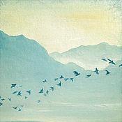 """Картины и панно ручной работы. Ярмарка Мастеров - ручная работа Картина маслом """"Рассвет""""(купить картину, голубой, утро, туман). Handmade."""