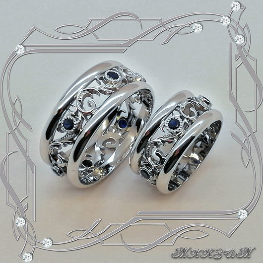 Rings from the series 'Wedding ring -EXCLUSIVE'! 925 silver, sapphires, rhodium, Rings, St. Petersburg,  Фото №1