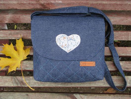 Женские сумки ручной работы. Ярмарка Мастеров - ручная работа. Купить Джинсовая стеганая сумка. Handmade. Тёмно-синий
