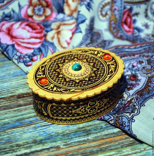Шкатулки ручной работы. Ярмарка Мастеров - ручная работа. Купить Шкатулка из бересты с малахитом и янтарем. Handmade. Береста, шкатулка