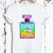 Одежда handmade. Livemaster - original item White perfume print t-shirt - TEE10002CT. Handmade.