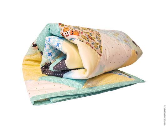 Пледы и одеяла ручной работы. Ярмарка Мастеров - ручная работа. Купить Лоскутное одеяло для новорожденной принцессы. Handmade. Голубой