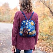Рюкзаки ручной работы. Ярмарка Мастеров - ручная работа Рюкзаки: синий войлочный рюкзак со стразами Звездная ночь. Handmade.