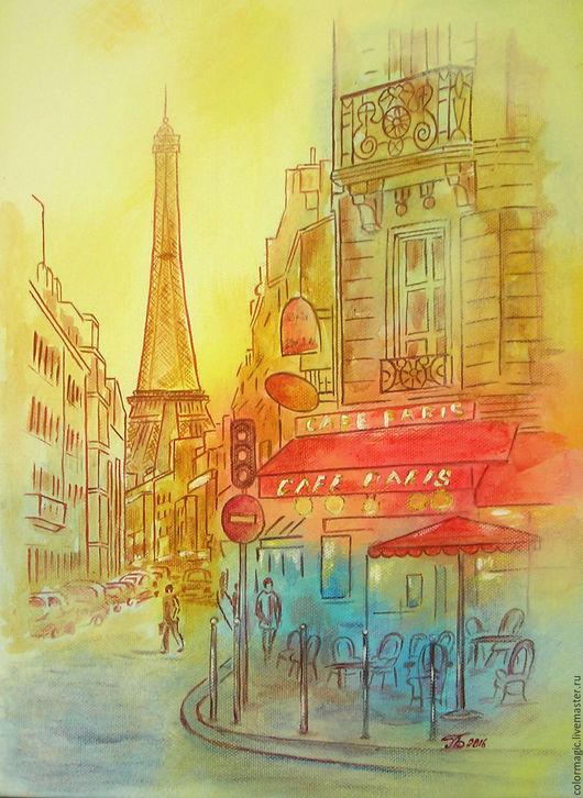 Город ручной работы. Ярмарка Мастеров - ручная работа. Купить Картина холст на подрамнике Парижское кафе. Handmade. Оранжевый