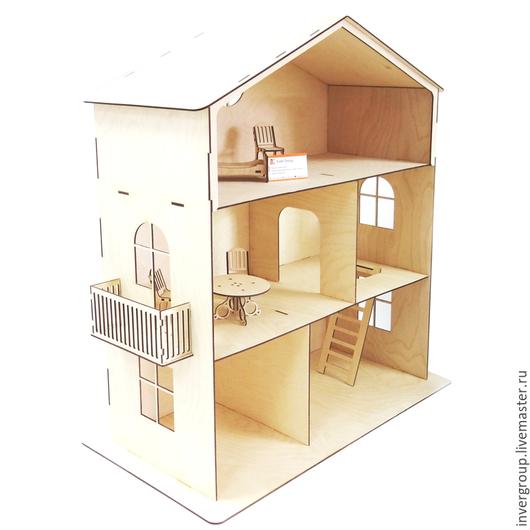 Кукольный дом ручной работы. Ярмарка Мастеров - ручная работа. Купить Кукольный дом с балконом. Handmade. Бежевый, игрушки в подарок