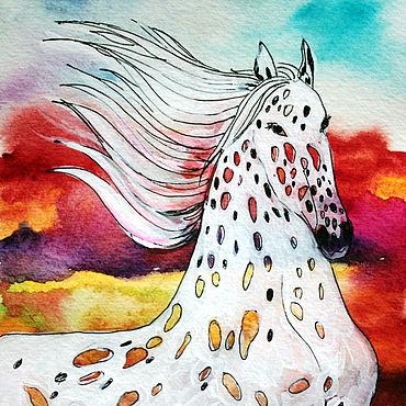 Картины и панно ручной работы. Ярмарка Мастеров - ручная работа Картины: Картина с белой лошадью. Белая Осенняя лошадь. Handmade.