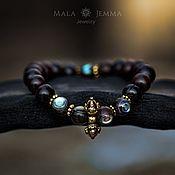 Украшения handmade. Livemaster - original item Brown Wood and Onyx bracelet with Buddha. Handmade.