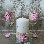 """Свадебный салон ручной работы. Ярмарка Мастеров - ручная работа Свадебные бокалы """"Розовый шик"""". Handmade."""