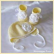 Комплект на выписку для новорожденной. Белая роза.