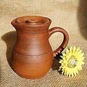 Русский стиль handmade. Livemaster - original item Clay jug with lid. Handmade.