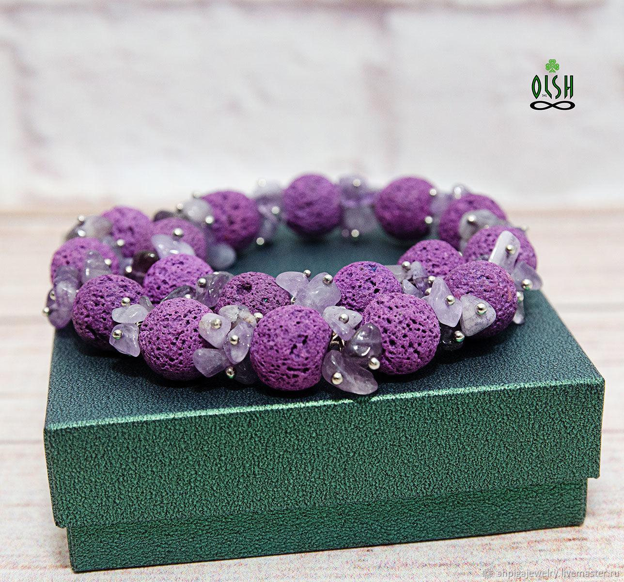 Universal bracelet made of natural lava and amethyst Fianna, Bead bracelet, Budennovsk,  Фото №1