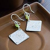 Украшения handmade. Livemaster - original item Silver earrings with peridot, earrings Boho with stone, square white. Handmade.