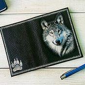 Канцелярские товары handmade. Livemaster - original item Passport cover men`s genuine leather dark brown Wolf. Handmade.