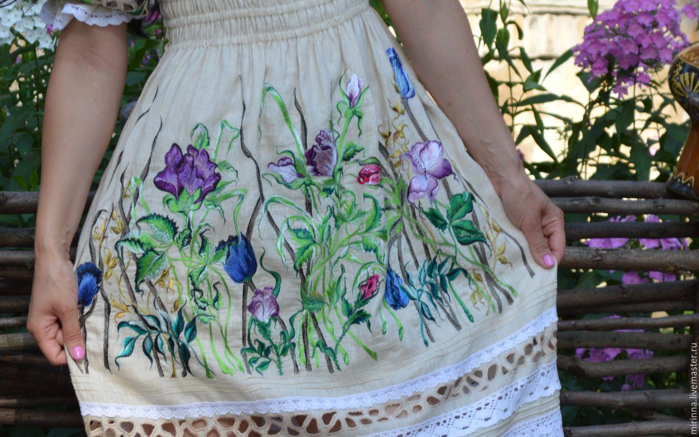 Вышивка на льняном платье
