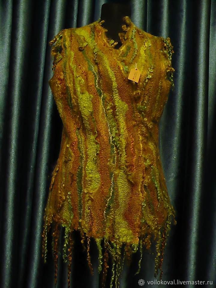 Vest felted with sheep's curls, fairy of the forest, Vests, Moscow,  Фото №1
