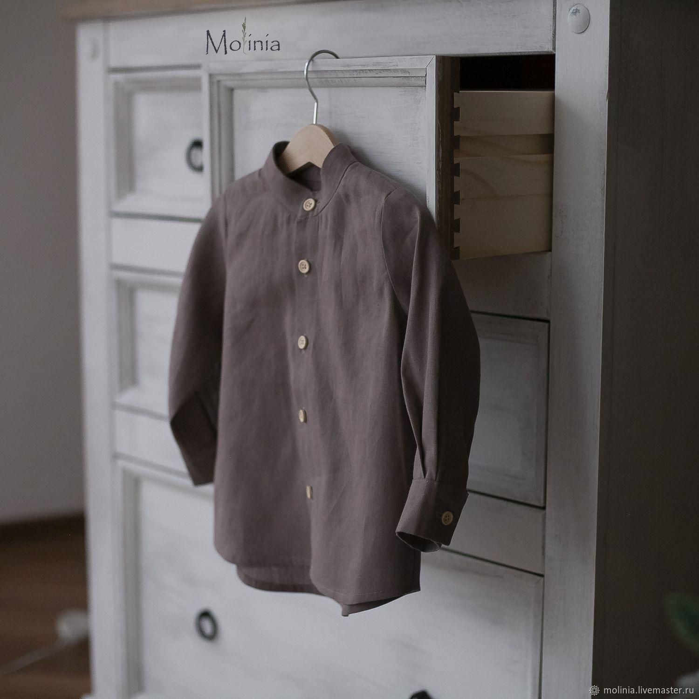 Boy's shirt linen dressy brown latte, Blouses and shirts, Kaliningrad,  Фото №1