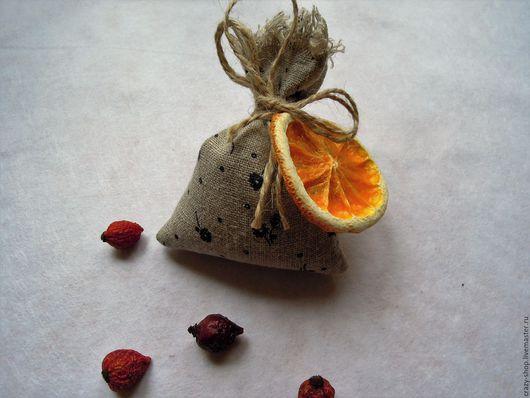 Саше `Оранжевое настроение` мешочек: гвоздика, корица, масло мандарина, апельсин