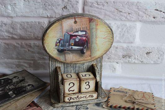 """Календари ручной работы. Ярмарка Мастеров - ручная работа. Купить Вечный календарь """"Мужское ретро"""". Handmade. Бежевый, подарок мужчине"""