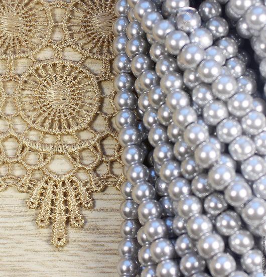 Для украшений ручной работы. Ярмарка Мастеров - ручная работа. Купить Жемчуг стеклянный 6 мм Светлое серебро. Handmade.