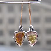 Украшения handmade. Livemaster - original item Earrings with multicolored tourmaline, silver and Goldfield. Handmade.